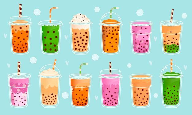버블 밀크티. 진주 밀크티, 말차 밀크, 코코아, 과일 맛과 녹차, 아시아 귀여운 음료 프리미엄 벡터