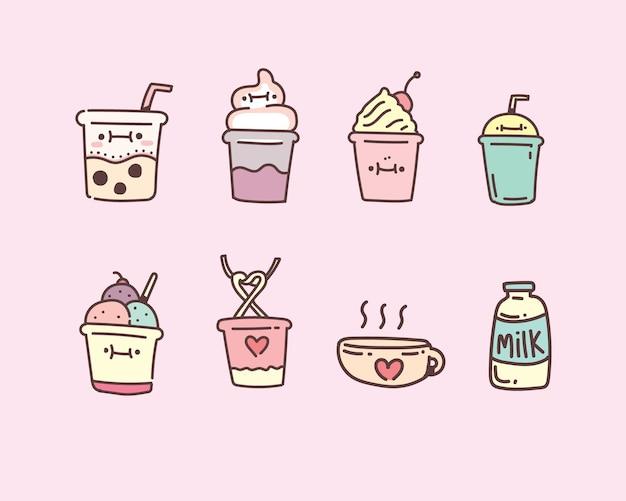 Пузырь чай с молоком векторные иллюстрации. молочный чай ручной стиль каракули набор
