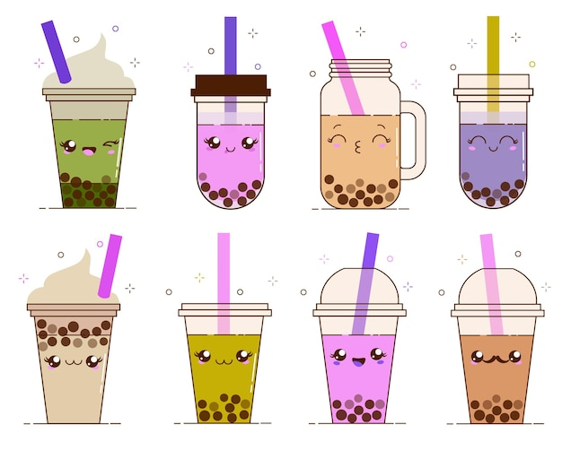 Bubble milk tea with tapioca black pearls. cute boba tea kawaii smiled characters. taiwanese famous and popular drink.