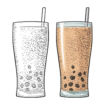 Bubble milk tea with tapioca pearl ball in glass.  vintage engraving