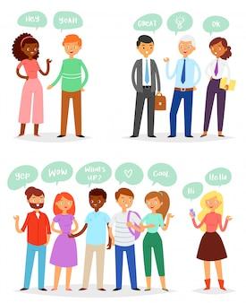 Пузырь люди пузырящиеся речевые коммуникации и группа человек женщина друзья обсуждение иллюстрации набор человек взрослый бизнесмен говорить чат сообщение, изолированных на белом фоне