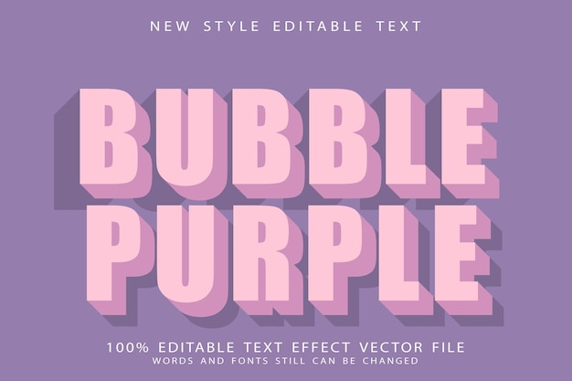 Пузырь фиолетовый редактируемый текстовый эффект тиснения в стиле ретро