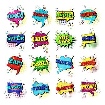 Комикс речевой чат bubble set поп-арт стиль звуковое выражение текст коллекция икон