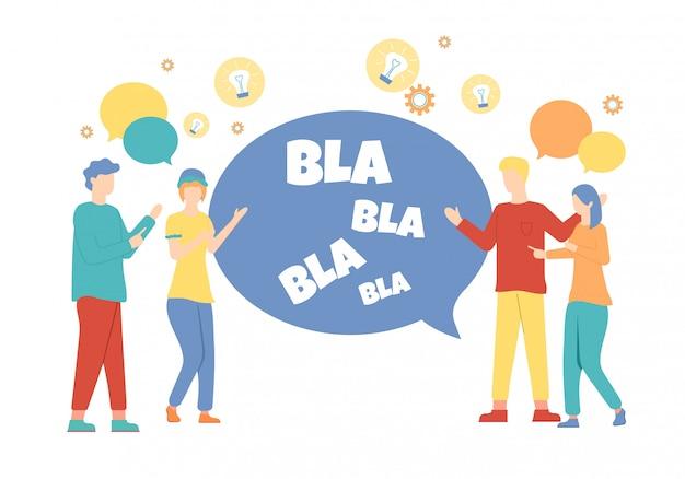 Мультипликационные люди говорят с текстом bubble speech bla