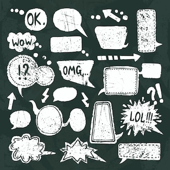 Bubble speech icons set chalkboard
