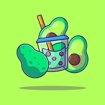 Bubble tea and avocadocartoon