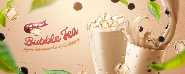 Bubble tea banner ads with splashing milk tea Premium Vector