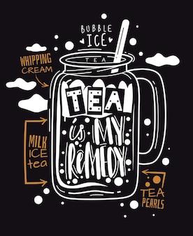 タピオカティー。味わい深いボバサマースウィートドリンク。タピオカボール、ホイップクリーム、コーヒー、グラフィックポスター漫画の白いガラスを黒いプロモーションベクトルチラシに印刷したミルクアイスデザート