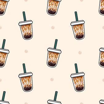 Bubble tea brown sugar seamless pattern