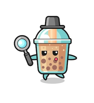 Bubble tea cartoon character searching with a magnifying glass , cute style design for t shirt, sticker, logo element