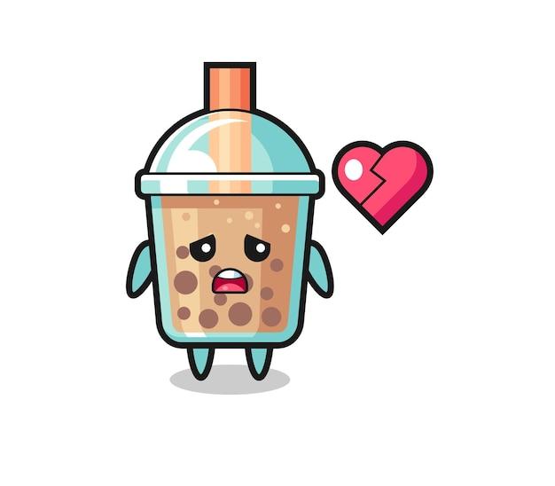 Иллюстрация шаржа пузырькового чая - разбитое сердце, милый стиль дизайна для футболки, наклейки, элемента логотипа