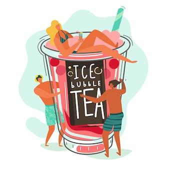 버블티. 귀여운 작은 인물들과 거품 밀크티 컵, 갈색 타피오카 볼을 곁들인 밀크쉐이크 인기 있는 아시아 음료, 플라스틱 유리 벡터 플랫 만화 개념의 유명한 여름 액체 디저트