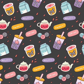 Bubble tea doodle seamless pattern