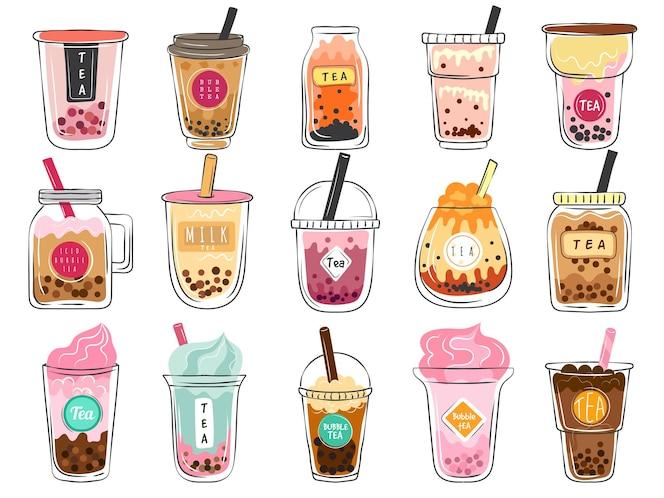 버블티 낙서. 플라스틱 컵에 담긴 디저트 아시아 음료는 맛있는 차가운 모카 신선도 차 벡터 삽화 세트입니다. 컵티 아이스 버블, 카페 메뉴