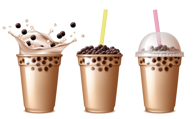 Bubble tea drink. cold tea with milk delicious beverage drinking products tapioca splashing liquid food  realistic.