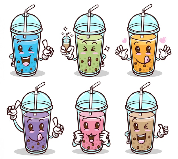 Bubble tea drink cute sticker set