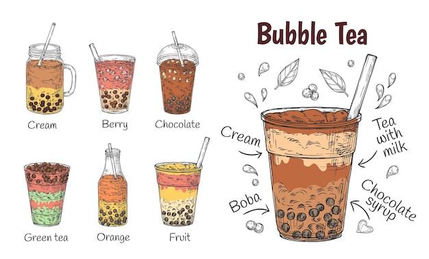タピオカティードリンク。おいしいチョコレートメニュー、スムージーまたはコーヒー、ミルクセーキのプロモーション