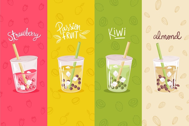Bubble tea flavors hand drawn style
