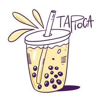 Пузырьковый чай из тапиоки, изолированные на белом фоне