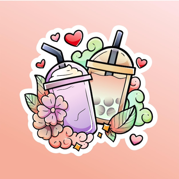 Bubble tea and ice milk with love