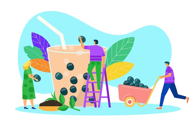 Bubble tea juice vector illustration tiny man woman people character make natural drink in cup summe...