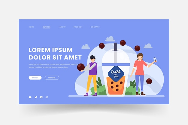 Bubble tea landing page concept