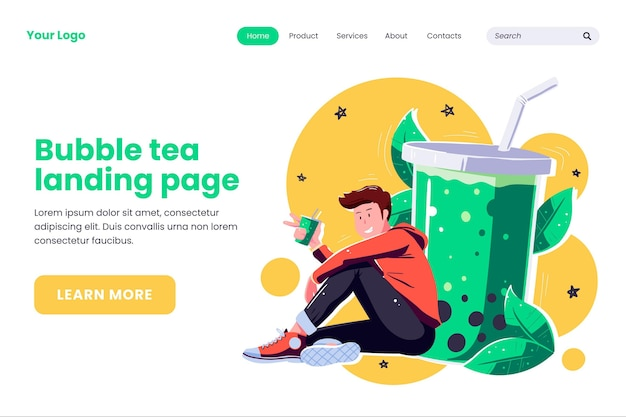 Bubble tea landing page style