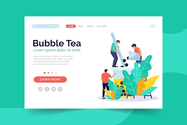 Bubble tea landing page template