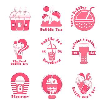 Коллекция логотипов пузырькового чая