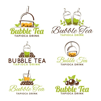 Bubble tea logo template pack