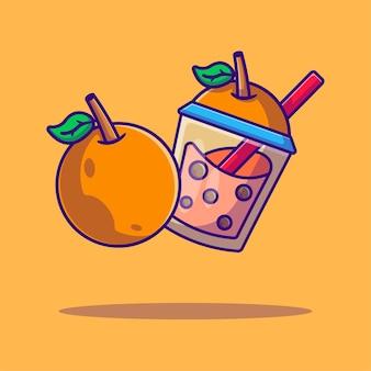 Bubble tea and orangecartoon