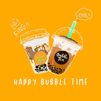 Bubble tea, pearl milk tea doodle style banner.