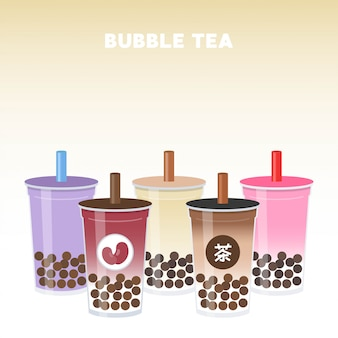 Bubble tea or pearl milk tea set vector illustration