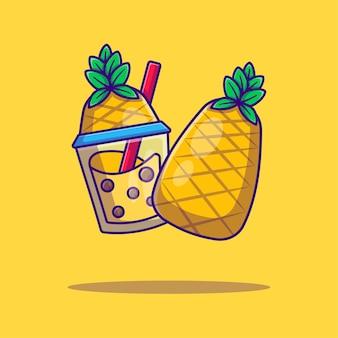 Bubble tea and pineapplecartoon