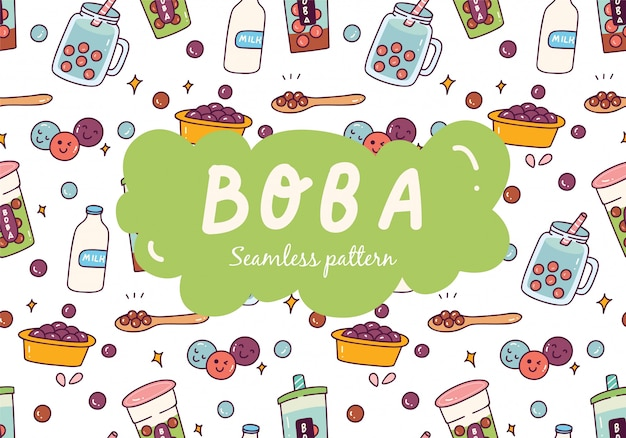 Bubble tea seamless pattern