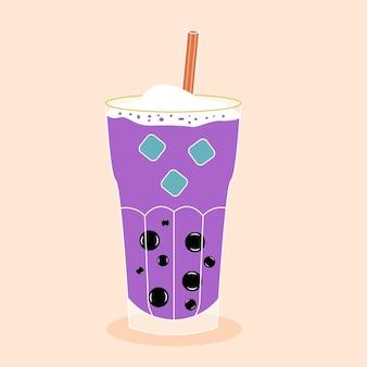 Bubble tea with tapioca with ice