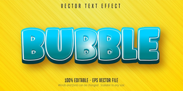 Bubble text, cartoon style editable text effect