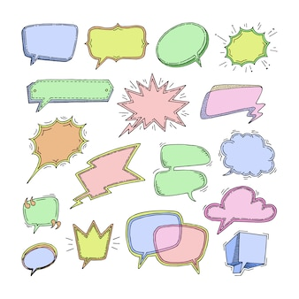 Bubbles  blank speech bubbling messages for communication or dialog set of cartoon bubbly chat balloon sketch think or talk  on white background illustration