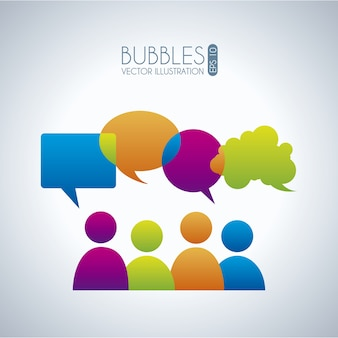 Пузырьки связи иконки на сером фоне