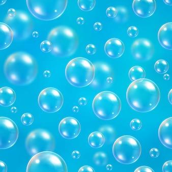Бесшовный узор пузыри на синем