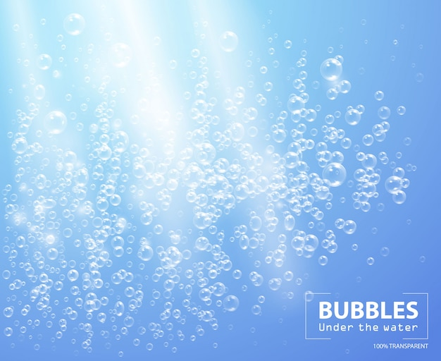 Bubbles under water  illustration on blue background with sunbeams