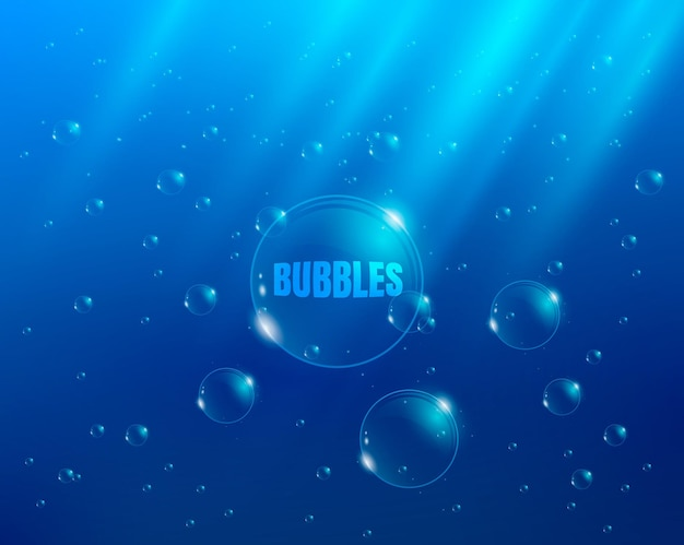 Bubbles in water vector background with rays of light