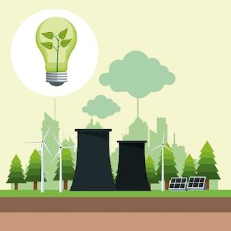 원자력 에너지와 태양 전지판을 가진 bubl 생태학