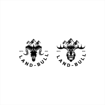 Buck stag deer for mountain hunting logo design vector