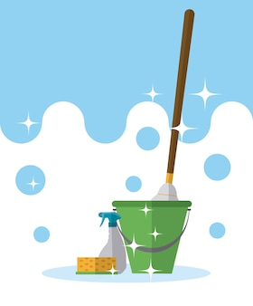 Bucket and mop with detergents