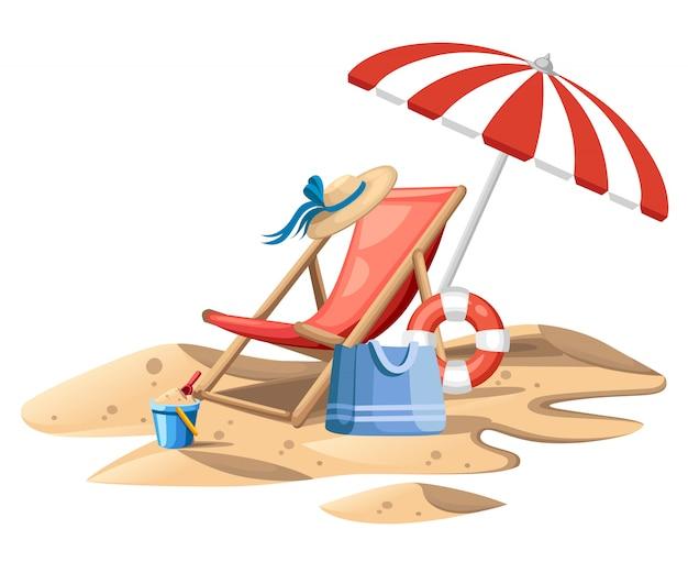 バケットとスペード。傘が付いている赤いビーチチェア。木製の椅子と砂の上のプラスチックのおもちゃ。夏のアイコン。白い背景の上の平らなイラスト。ウェブサイトや広告のコンセプトデザインを旅行します。