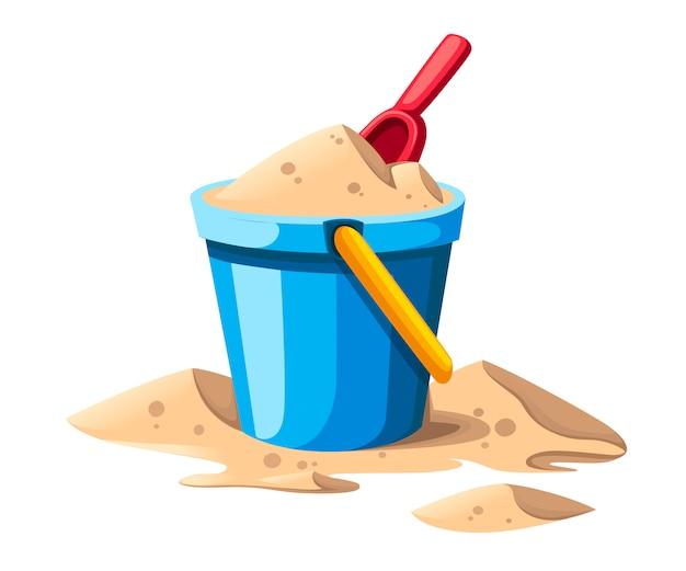 양동이와 스페이드. 노란색 손잡이와 파란색 양동이에 모래. 빨간 삽. 다채로운 플라스틱 아이 장난감. 여름 아이콘입니다. 평면 그림 흰색 배경에 고립입니다.