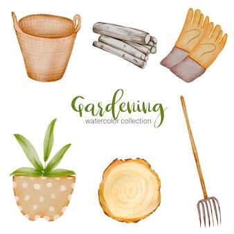 양동이, 바구니, 나무 커팅 보드, 장갑, 장작 및 짚 포크, 정원 테마에 수채화 스타일의 원예 개체 집합.