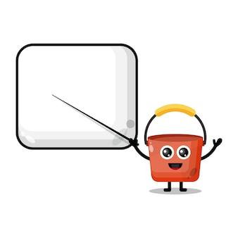 Bucket becomes a teacher cute character mascot