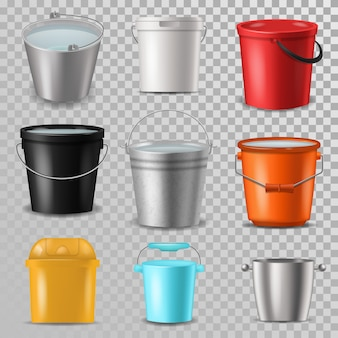 Bucket  bucketful and bitbucket plastic pail empty or with water bucketing down in garden and garbagepail or pailful for gardening set illustration isolated on transparent background